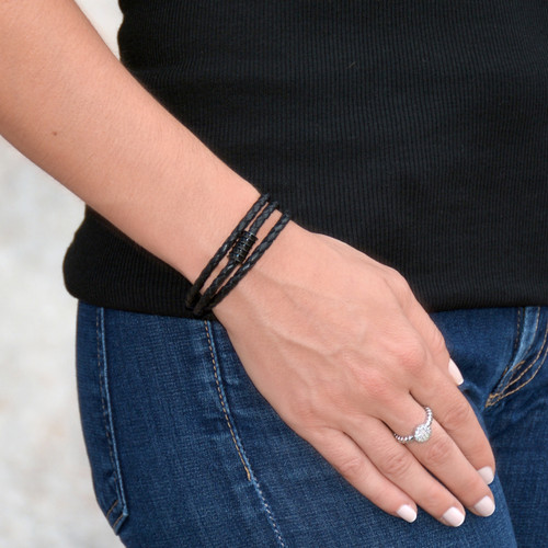 Black Screw Leather Triple Wrap