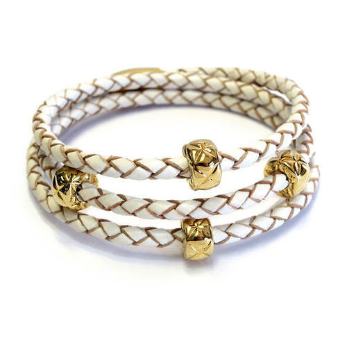Vacay Leather Triple Wrap Gold