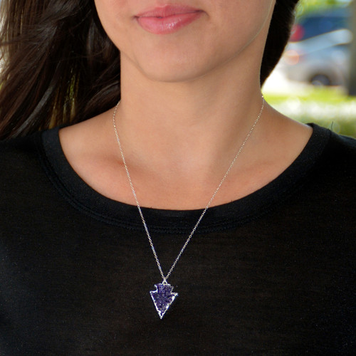 Sterling Silver Druzy Necklace Arrow