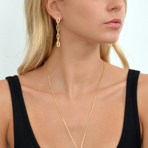 Love Link Chain Earrings Gold