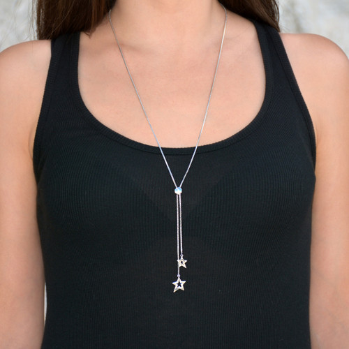 You're a Star Lariat Necklace Silver