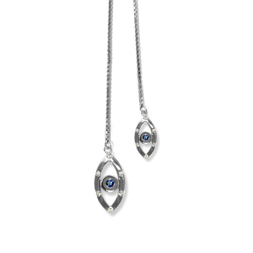 Evil Eye Sapphire Lariat Necklace Silver