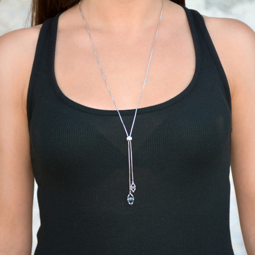 Evil Eye Sapphire Lariat Necklace