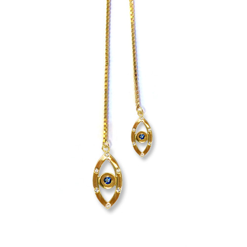 Evil Eye Sapphire Lariat Necklace Gold