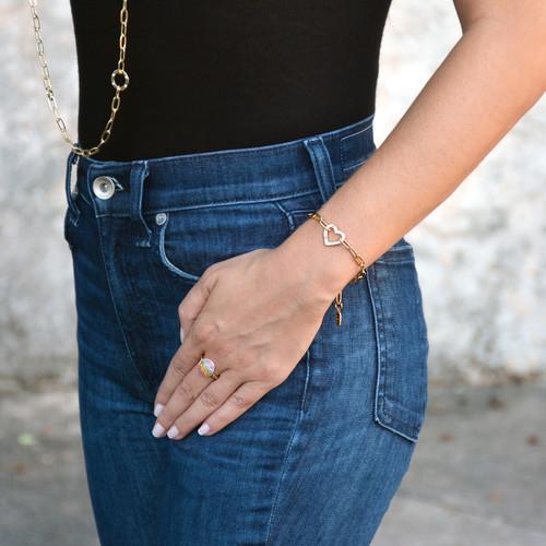 Amour Heart Chain Bracelet Gold