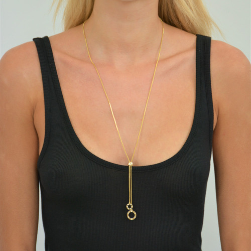Orbit Lariat Rainbow Necklace Gold