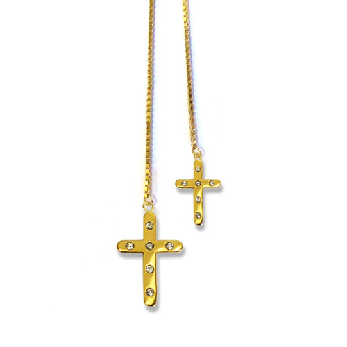 Cross Lariat Necklace Gold