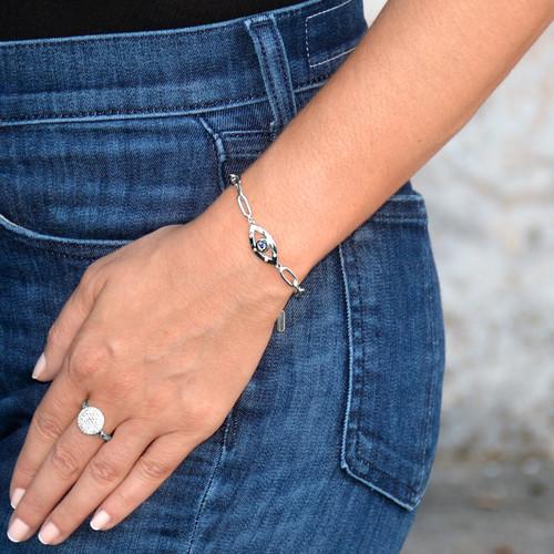Amour Evil Eye Chain Bracelet Silver