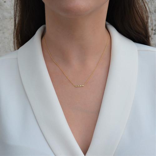 Diamond Bar Necklace Yellow Gold