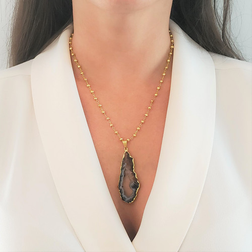 Ida Drop Geode Necklace