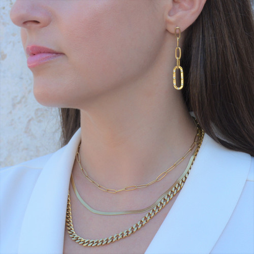 TikTok Link Earrings Gold