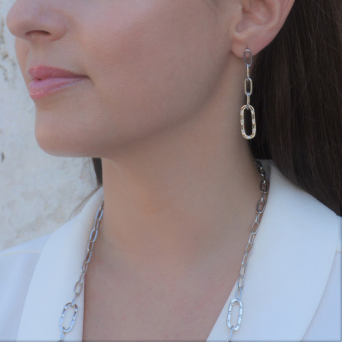 TikTok Link Earrings Silver