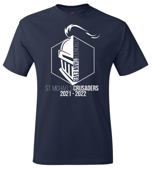 """Adult Crusader Tee - """"STRONGER THAN EVER"""" [colors: carbon, navy, red]"""