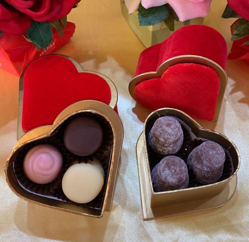 Mini Velvet Heart Boxes - 3 pieces