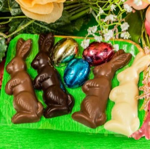 Easter Nest with 4Bunnies  3Half Eggs