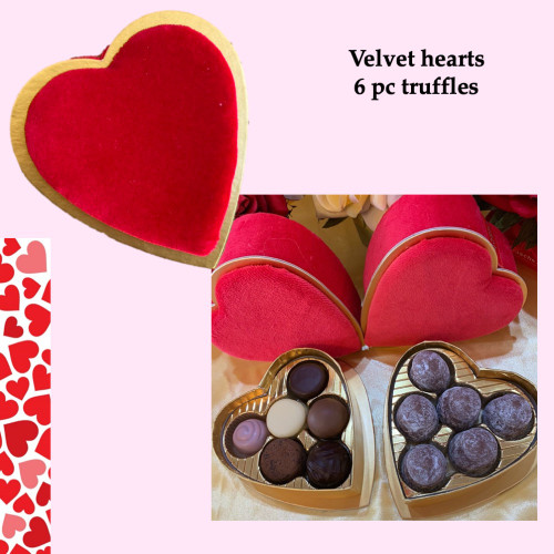 Velvet Heart Box 6 pieces