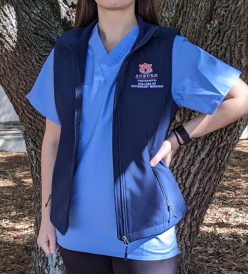 Ladies Navy Softshell Vest