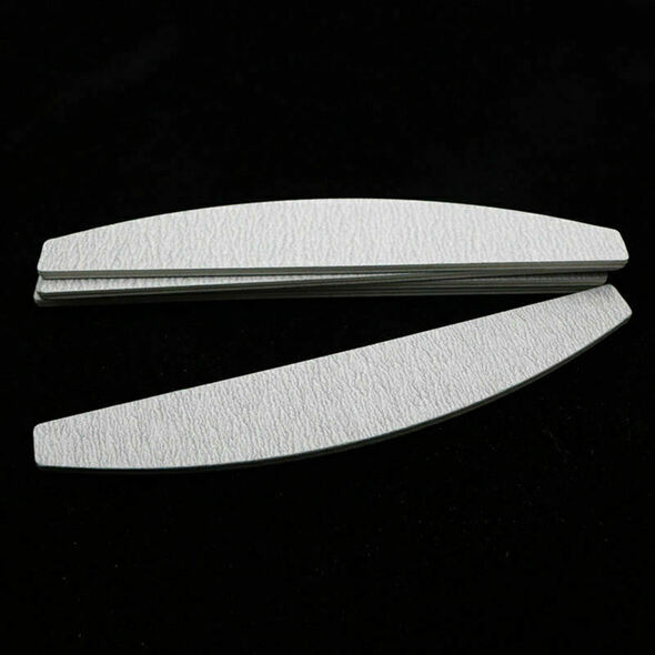 Nail files, D shape, double sided, gray white, 10 pieces O4M3