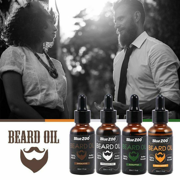 BlueZOO 100% Natural Beard Oil for Men,Leave In Conditioner and Softener fo E3B4