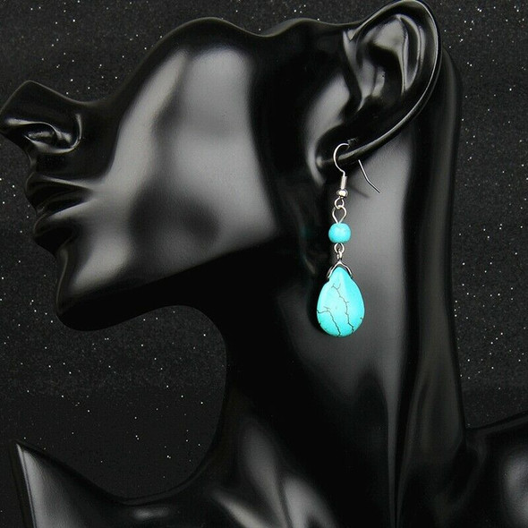 5X(Retro Simple Drops Natural Stone Turquoise Earrings Featured Texture St F5E2)