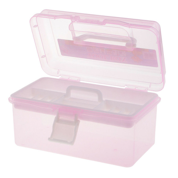Pink Sewing Jewelry Painting Tools Box Home Storage Case Organizer w/Handle