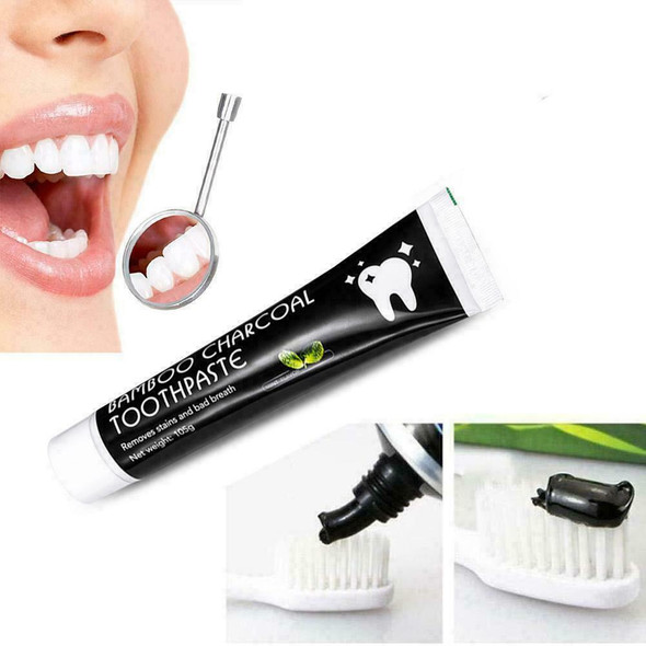 Bamboo Charcoal Teeth Whitening Toothpaste Black Removes Bad Breath 105g F3V1