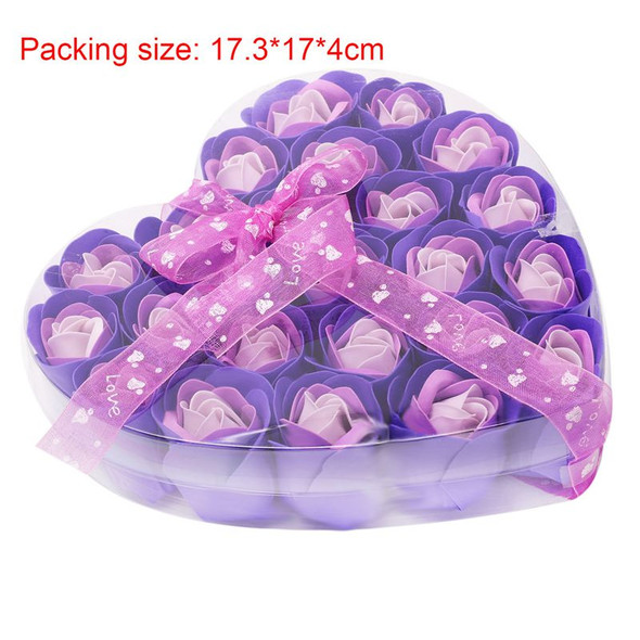 Lovely 24 Pcs Red Scented Bath Soap Rose Petal in Heart Box (Purple) A7O3