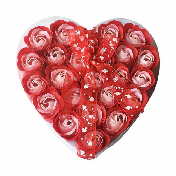 Lovely 24 Pcs Red Scented Bath Soap Rose Petal in Heart Box (Red) S3G5