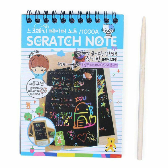 5X(1pcs Scratch Note Black Cardboard Creative DIY Draw Sketch Notes for Ki J9F2)