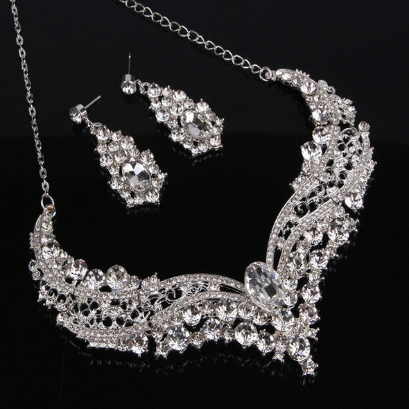 Bridal Rhinestone Necklace Earrings Jewelry Set Crystal Collar Party Jewe 3C