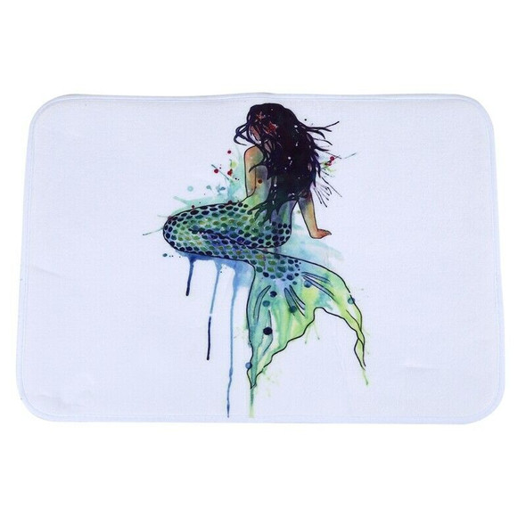 Mermaid Style Water-absorb Floor Bath Mat Toilet Room Coral velvet Anti-sli P1J4