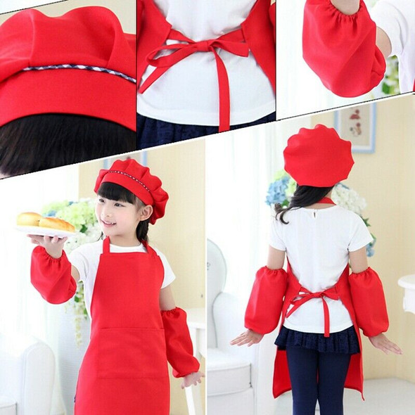 Kids Full Apron Bib Set with Pocket and Hat Sleeves Craft Kitchen Chef Cook A4F5