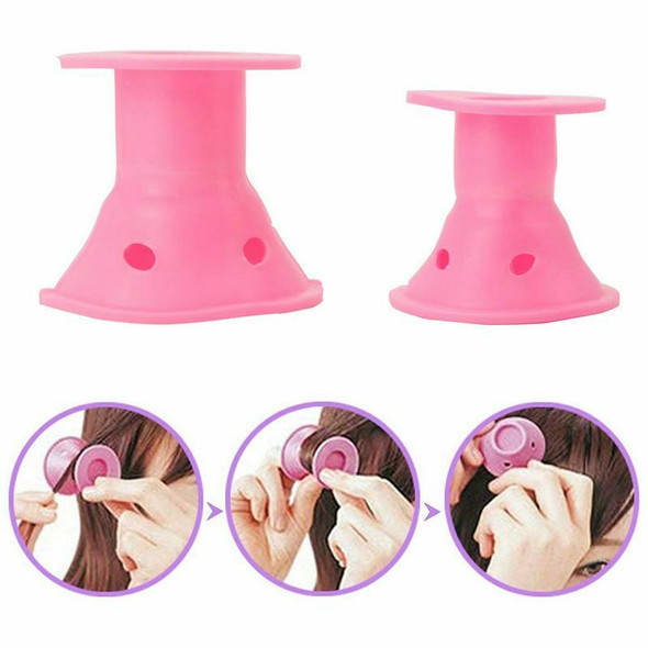 Hair Rollers X 24- Effortless - Heat Free - Hair Styling - Pink Silicone -  W5C8