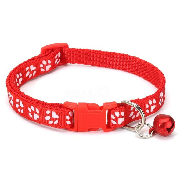 12PCS Dog Collars Pet Cat Puppy Buckle Nylon Collar with Bell 6 Colors G4N5
