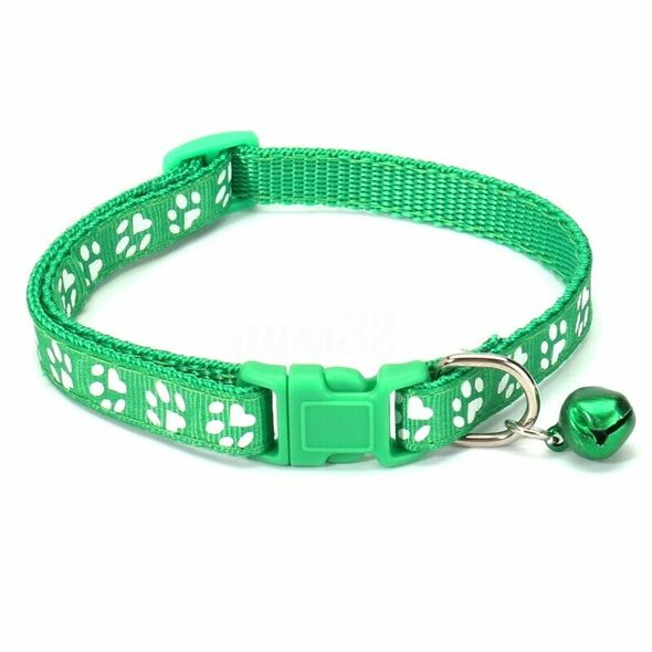 12PCS Dog Collars Pet Cat Puppy Buckle Nylon Collar with Bell 6 Colors T3Z9