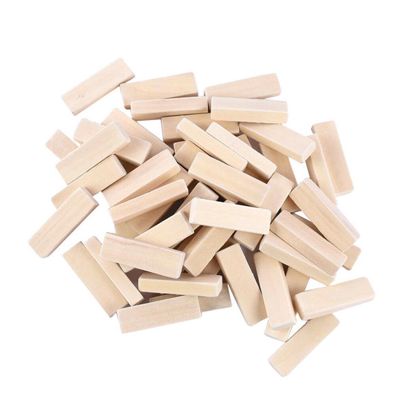 50pcs Wooden Dominoes Wood Rectangle Blocks for Art Crafts & DIY Projects