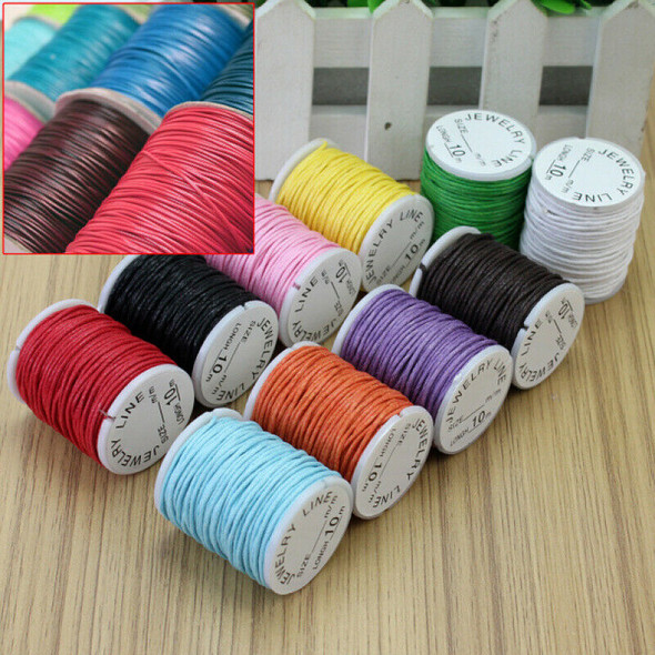 10x Mixed Colors Waxed Cotton Cord Strings For Macrame Jewelry Beads DIY  ROB