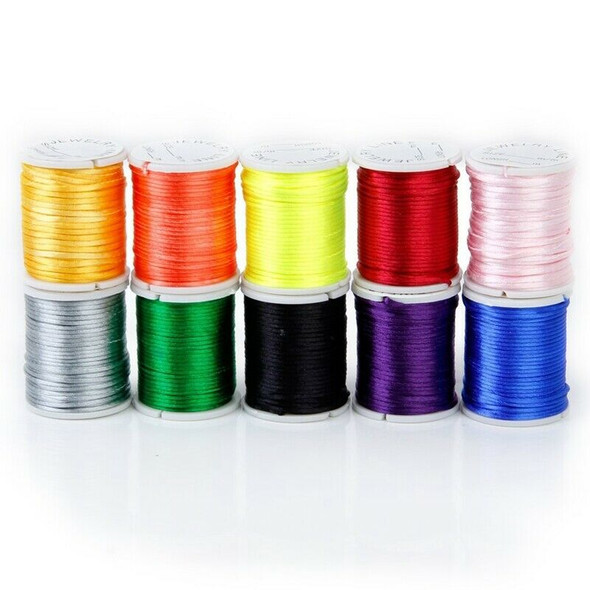 10 Rolls mixed cord in Nylon of colour beads chain of thread for the craft  H1A8