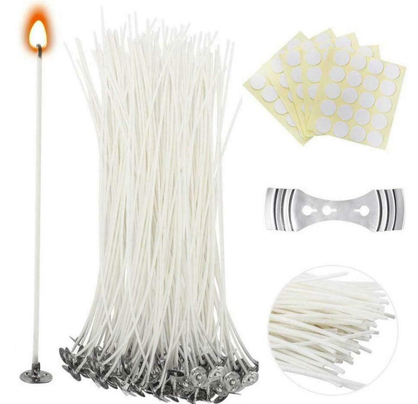 201PCS Cotton Candle Wax Wicks Making Kit Pre Waxed W/ Candles Wick Stickers