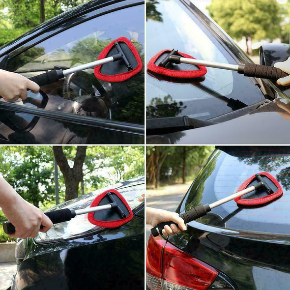 Car Wiper Cleaner Microfiber Windshield Telescoping Glass Tools Brush Red A1D0