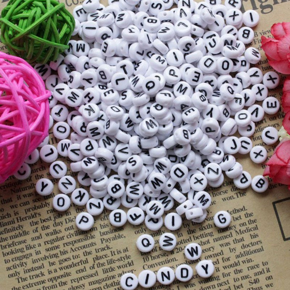800 PCS White Round Alphabet Letters Spacer Beads 7x4mm Spacer Spacer Beads K9L3