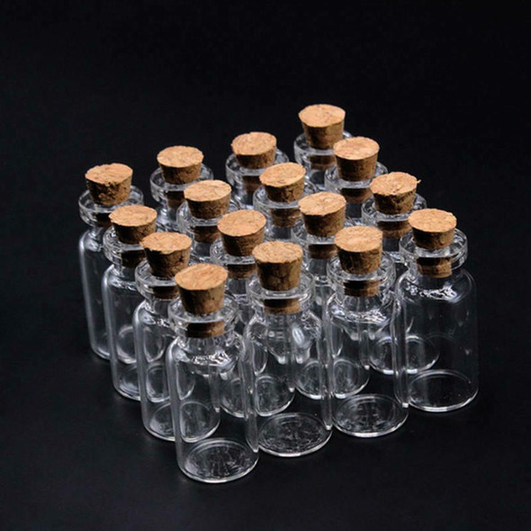 50x Mini Empty Clear Glass Bottle With Cork Small Tiny Vials Jars Transparent