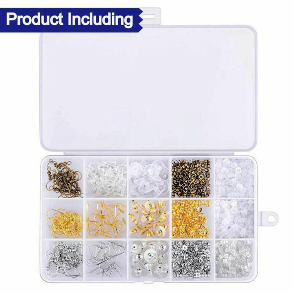 1200Pcs Earring Backs Kit with 15 Style Earring backings, Earring hooks and R3I6