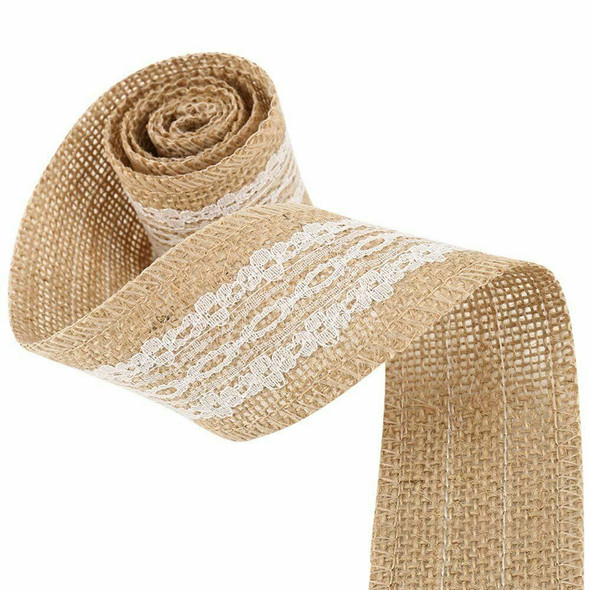 9 Packs Hessian Burlap Ribbon Rolls with White Lace Natural Burlap Wreath f P2A4