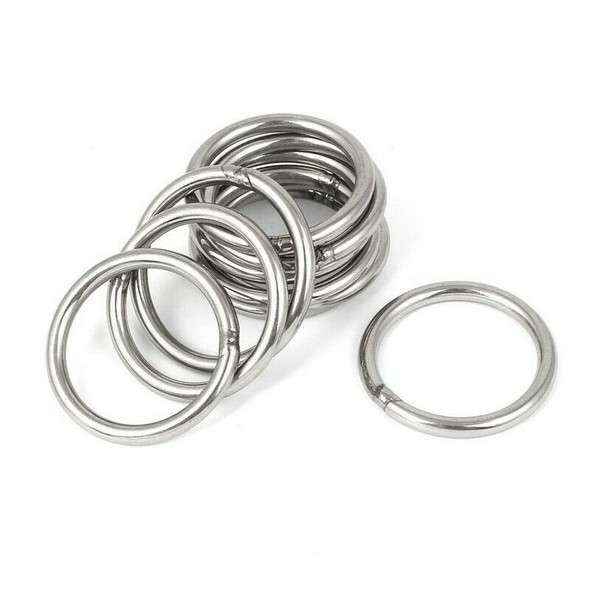 M5 x 50mm 304 Stainless Steel Strapping Welded Round O Rings 10 Pcs P1Y9