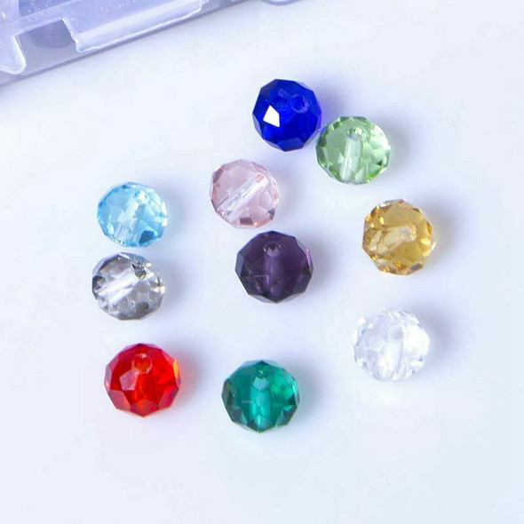 300 Pcs Glass Beads, 8mm 10 Color Faceted Beads Crystal Beads for Jewelry M X3F1