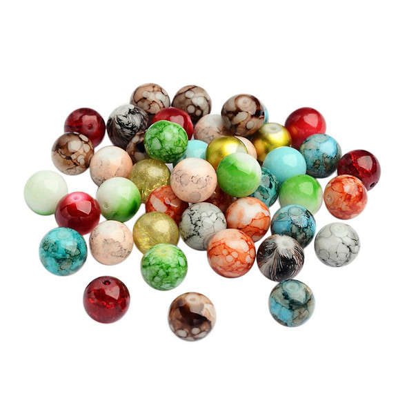 100Pcs Multi-Colors Glass Round Beads For DIY Beading Sewing Crafts 12mm