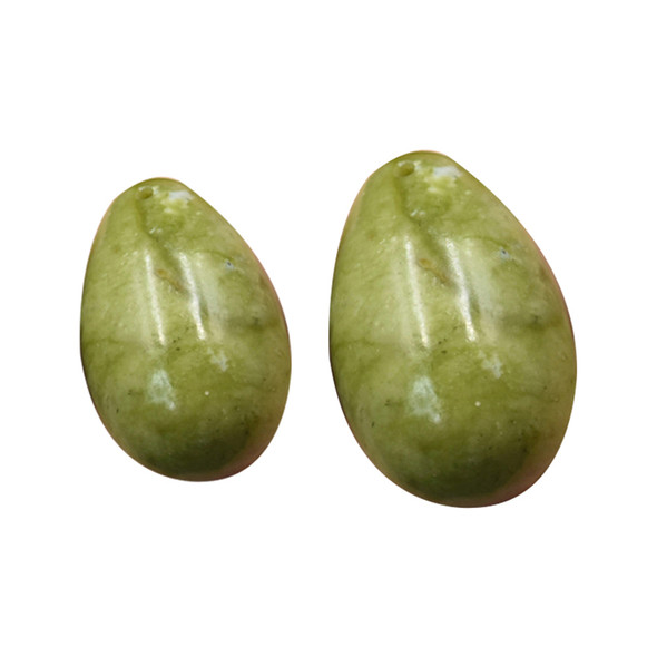 3pcs Set Drilled Helu Jade Yoni eggs 50x31mm,40x28mm,30x22mm for kegel exercise