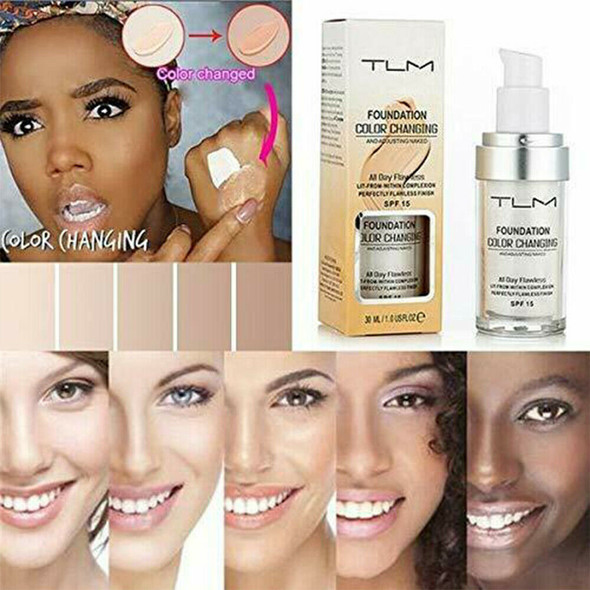 30ml TLM Color Changing Liquid Foundation Makeup Base Change To Your Skin Tone
