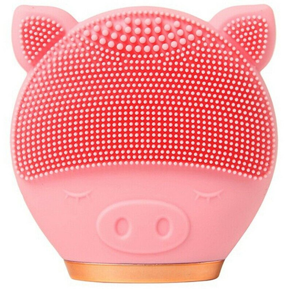 Pink Electric Facial Cleansing Brush Silicone Sonic Vibration Mini Cleanser D9J7